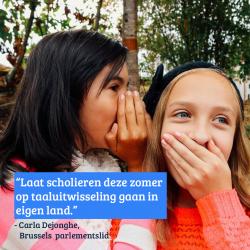 Carla Dejonghe vraagt taaluitwisselingen voor scholieren tijdens de zomervakantie
