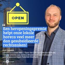 Kurt Deswert, gemeenteraadslid St-Lambrechts-Woluwe: MR+ / Open Vld wil een heropeningspremie voor de horeca in Sint-Lambrechts-Woluwe.
